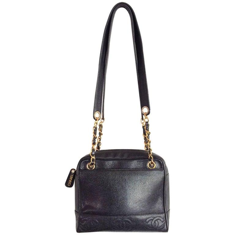 Chanel black caviar leather crossbody bag handbag For Sale