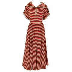 1970s Vintage GEOFFREY BEENE Red, Black and Orange Striped Silk Blouse and Skirt
