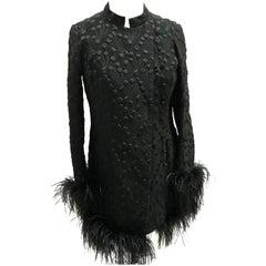 Vintage Hilary Floyd London Coat - Silk - Ostrich Feathers