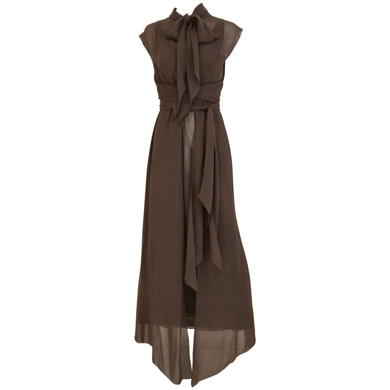 1990s CHANEL Brown Crepe Dress with Sleeveless Overlay Long Vest