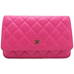 Chanel Wallet On Chain Pink Quilted Lambskin Leather Chain Crossbody Bag