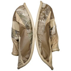 Opulent Embroidered and Leather Cocoon Coat