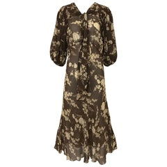 1930s Brown and Creme Floral Print Silk Dress