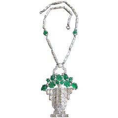 Cartier Style Art Deco Necklace. Basket of Glass Flowers. 1930's.