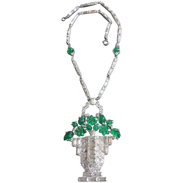 Cartier Style Art Deco Necklace Basket Of Glass Flowers