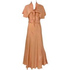 1930s Peach Silk Bias Cut Dress with Shawl Capelet