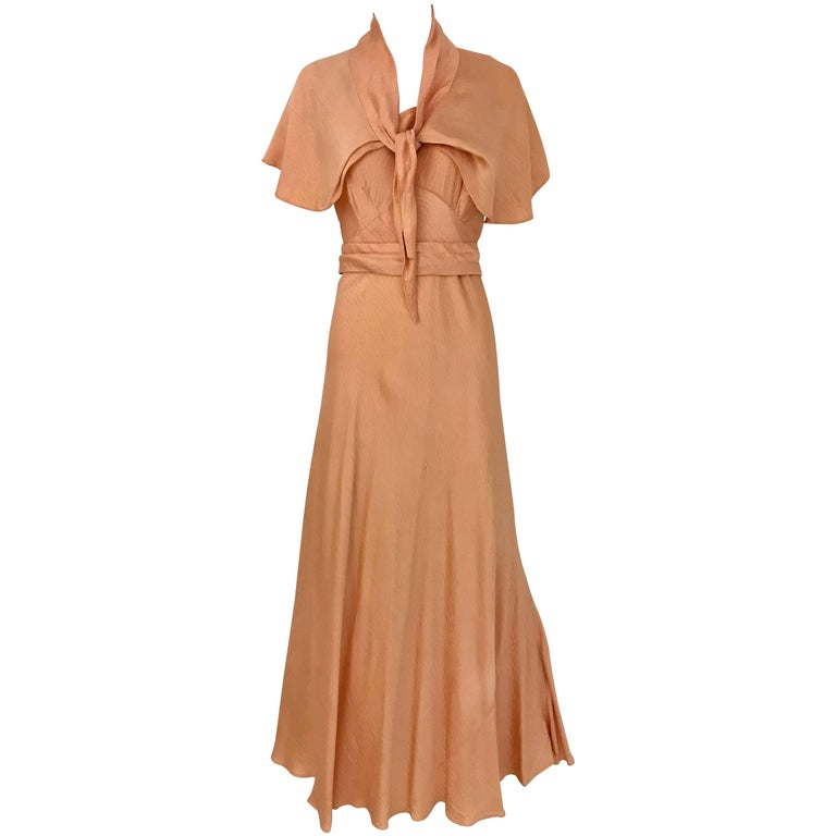 1930s Peach Silk Bias Cut Dress with Shawl Capelet