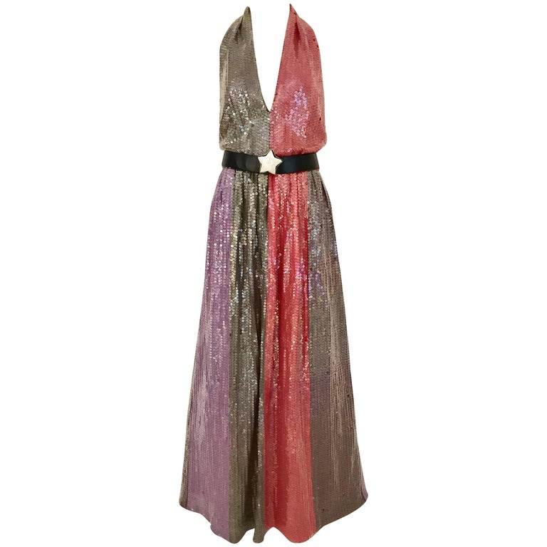 1970s BILL BLASS Red Purple and Brown Sequin V Neck Halter 70s Gown