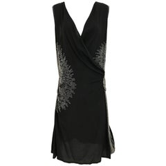 1920s Black Silk Beaded Flapper Dress Large size