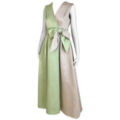 1960s Celadon Green and Grey Sleeveless Silk Dres with Bow