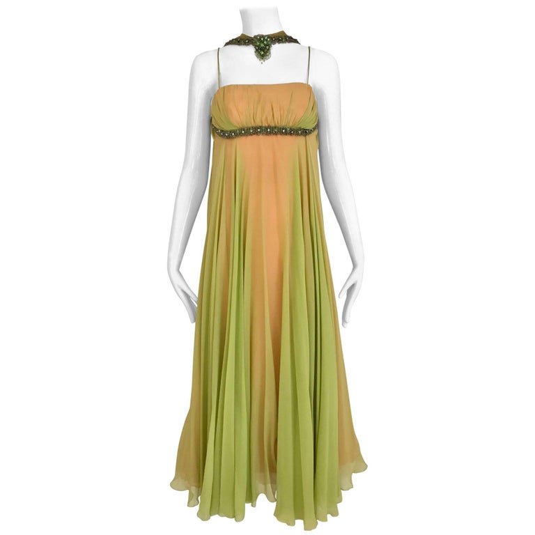 1960 Chartruese Silk Chiffon Evening Gown with Jeweled Neckline