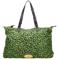 Mulberry Green Quilted Printed Nylon Handbag