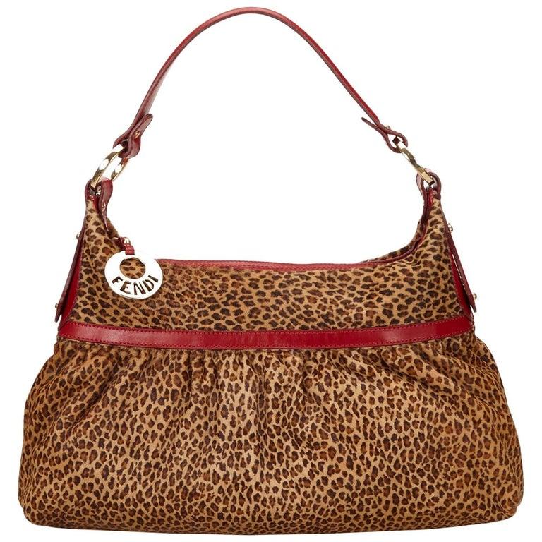 254b6e13693f Fendi Brown Leopard Print Pony Hair Shoulder Bag For Sale at 1stdibs
