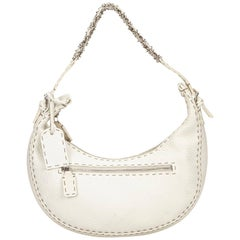 Fendi White Leather Selleria Shoulder Bag