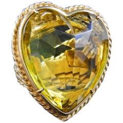bronze and glass heart ring by Patrizia Daliana
