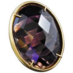 bronze and purple glass ring by Patrizia Daliana