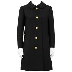 1960's Lanvin Black Wool 3/4 Coat