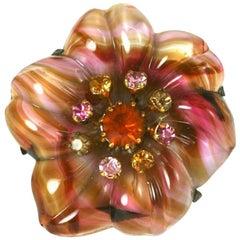 Czechoslovakian Art Glass Flower Brooch