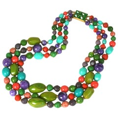 Hattie Carnegie  Muiti Strand Bakelite Bead Necklace