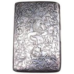 Tiffany & Co. Sterling Engraved Antique Lion Cigarette Cheroot Case