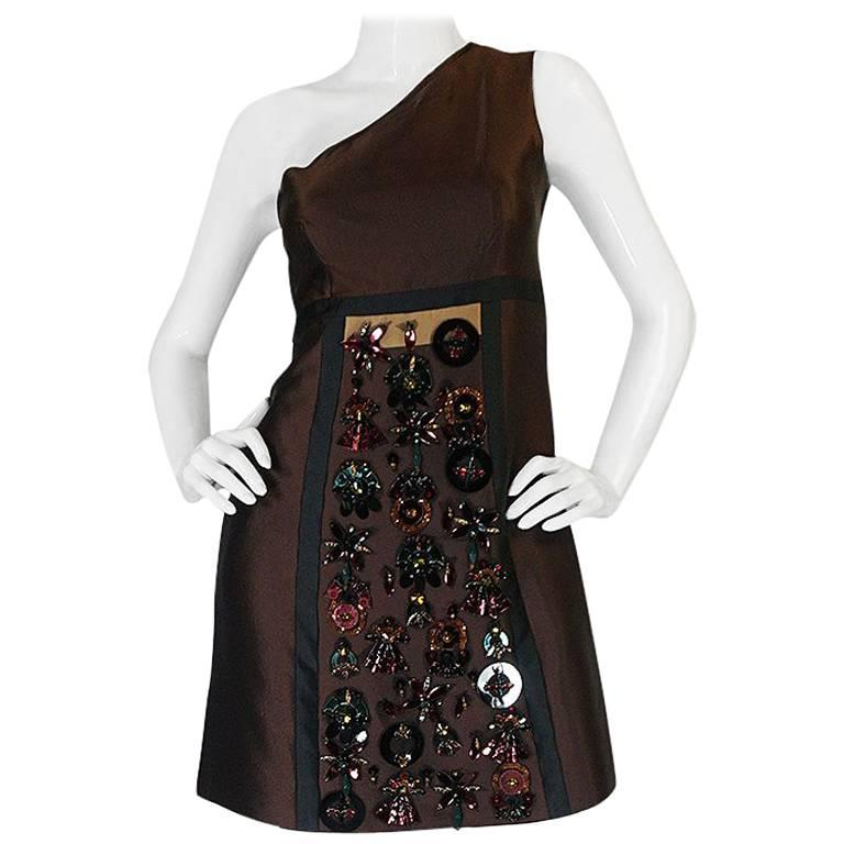 S/S 2005 Prada Look 48 One Shoulder Jeweled Embellished Dress