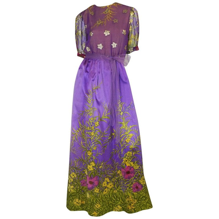 1960s Oscar de la Renta Silk Floral Dress w Metallic Accents For Sale