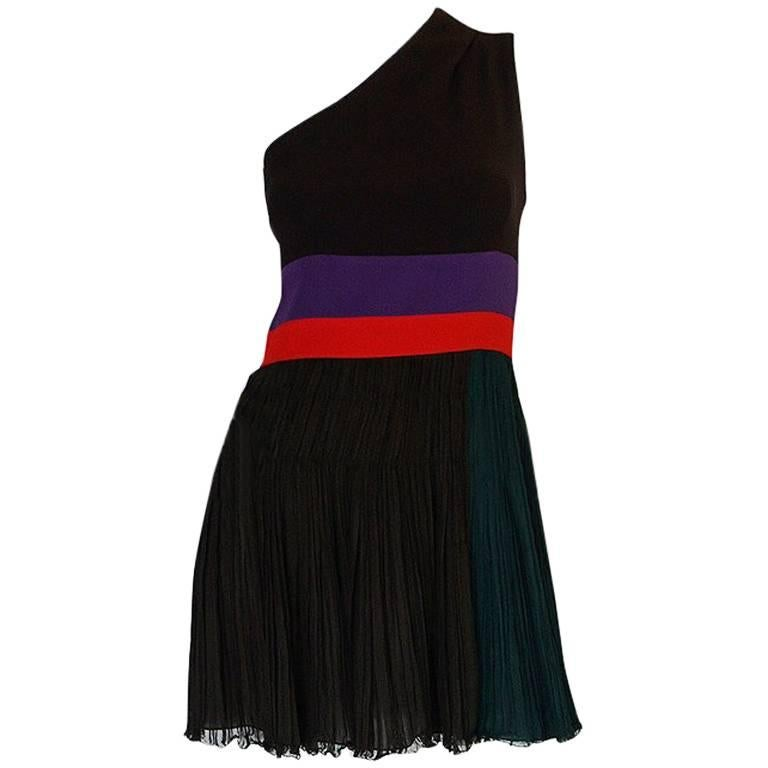 S/S 2005 Prada Look 22 One Shoulder Pleated Skirt Dress