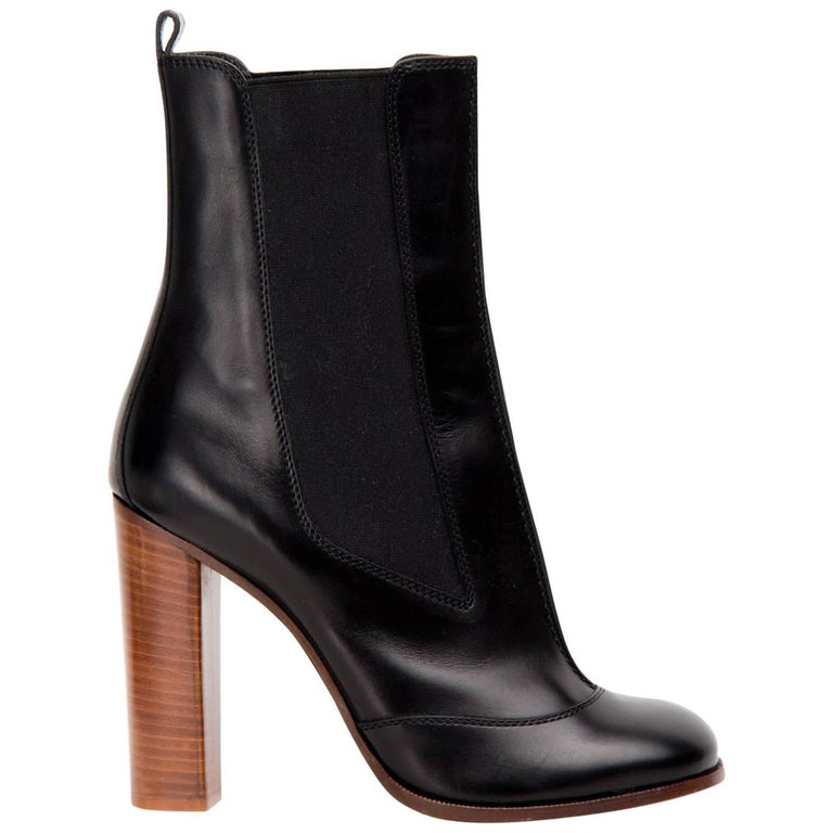 Celine Black Chelsea Mid-Calf Boot For Sale