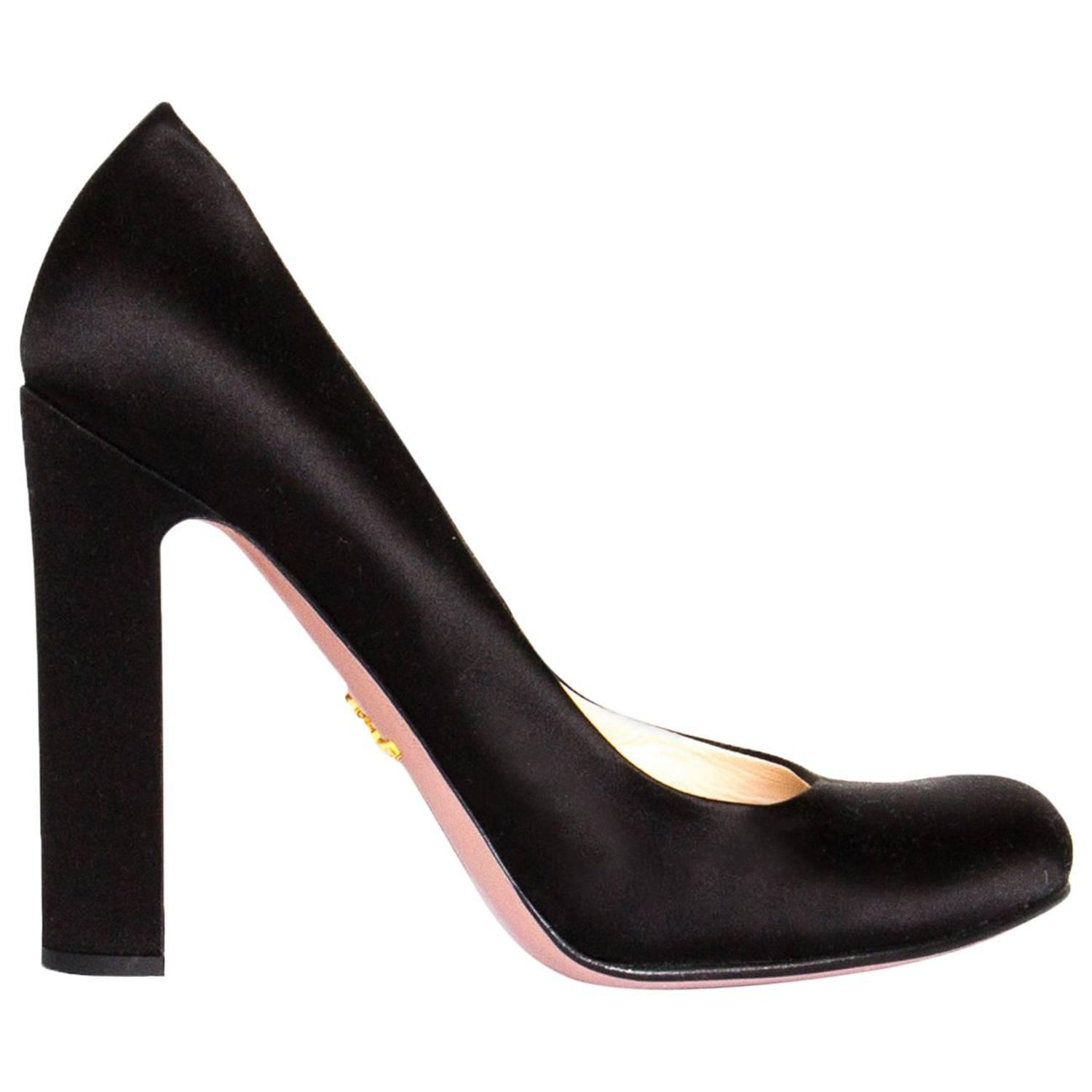 0fc82c7fba00a7 Prada Black Satin Heel Pumps at 1stdibs
