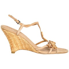 Prada Tan Leather & Rattan Wedge