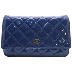 Chanel Wallet On Chain Blue Quilted Patent Leather Silver Metal Crossbody Bag