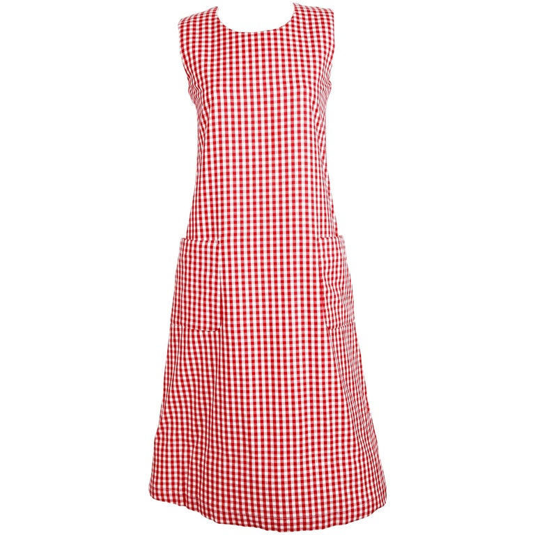 1997 COMME DES GARCONS red gingham padded dress 'BODY MEETS DRESS' For Sale