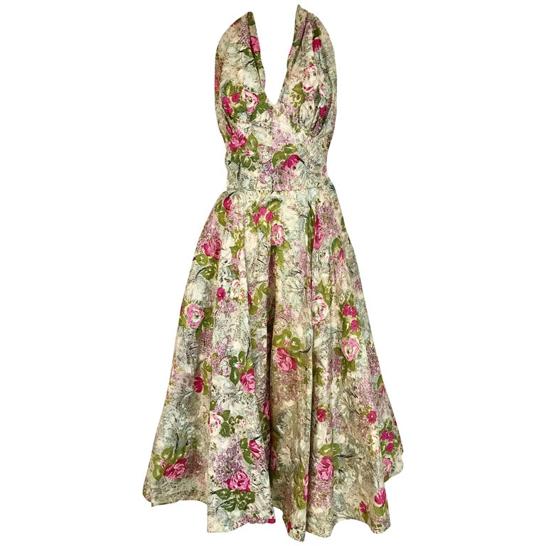 1950s Water Color Floral Print Halter Silk Cocktail Day Dress