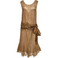 1920s Mocha Metallic Lace Flapper Dress