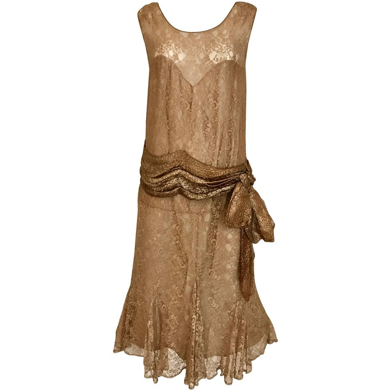 1920s Mocha Metallic Lace Flapper Dress For Sale