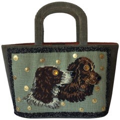 Autumnal Olive Green Corduroy Tote with Needlepoint Spaniels. Late 1950's. Saks.