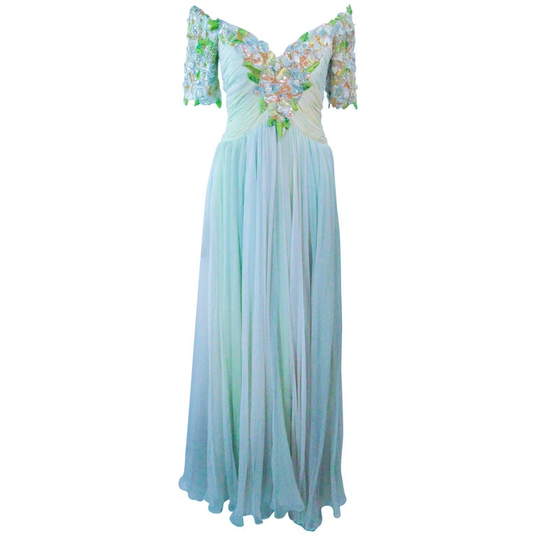 BOB MACKIE Green Chiffon Flower Embellished Gown Size 2 4 For Sale