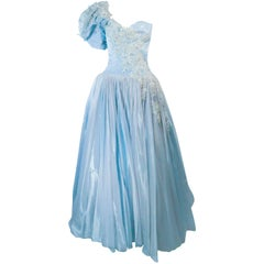 NOLAN MILLER Sky Blue Gown with One Shoulder and Floral Applique Size 2 4