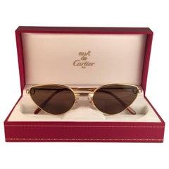 New Cartier Rivoli Vendome 56mm Cat Eye Sunglasses 18k Heavy Plated France
