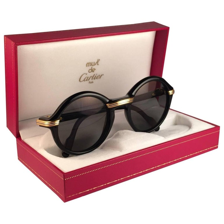 New Cartier Cabriolet Round Black & Gold 49MM 18K Gold Sunglasses France 1990's For Sale