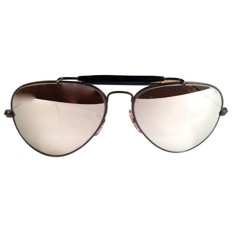 b13f008e1da5 New Vintage Ray Ban Black Outdoorsman 58Mm Full Mirror B L Sunglasses For  Sale