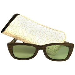 New Ray Ban Caribbean 1960's Mid Century Wood Green Lenses B&L USA Sunglasses