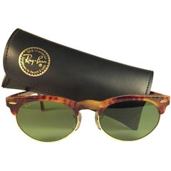 New Vintage Ray Ban B&L Clubmaster Tortoise Gold Oval RB3 Lenses Sunglasses USA