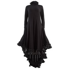 Yohji Yamamoto Spring-Summer 1999 black cotton evening dress with ruffles