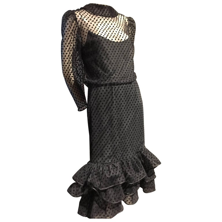1980s Christian Dior Pointe D'Esprit Tulle Cocktail Dress with Ruffle Hem