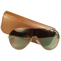 New Ray Ban Wings Leather Brown Amber Lenses B&L USA 80's Sunglasses