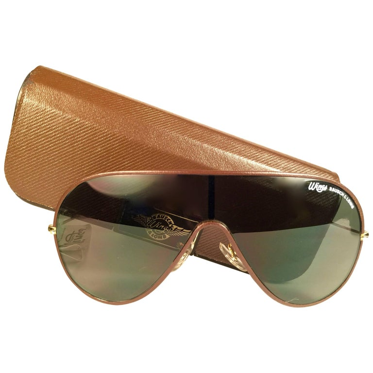 1056579a68 New Ray Ban Wings Leather Brown Amber Lenses B L USA 80 s Sunglasses ...