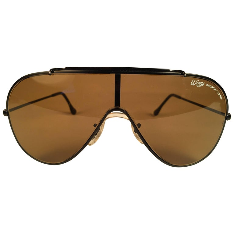 8ee0ff39e6 New Ray Ban Wings Black Frame Brown Amber Lenses B L USA 80 s Sunglasses ...
