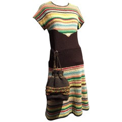 1940s Multi-Color Stripe Boucle Knit Dress with Coordinating Knit Purse
