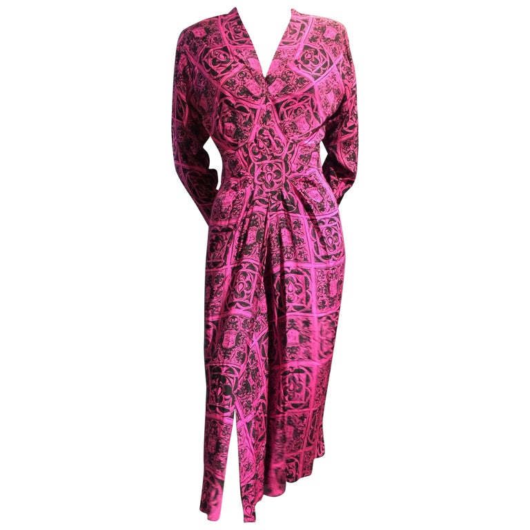 1940s Adrian Magenta and Black Print Dress w Front Slit Diamond Inset and Gather For Sale